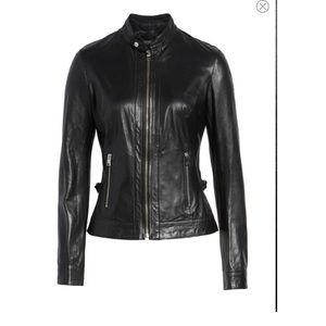 Jackets & Blazers - LAMARQUE Lambskin Leather Biker Jacket